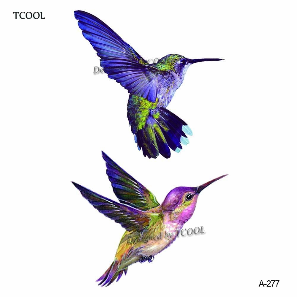 HXMAN Hummingbird Temporary Tattoo Sticker Waterproof Women Fashion Fake Body Art Arm Tattoos 9.8X6cm Kids Hand Tatoo A-277