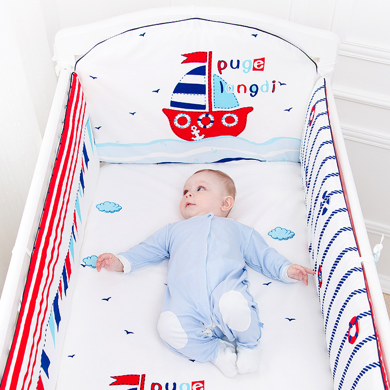 5 Pcs Cotton Baby Bedding Set Cartoon Crib Bed Bumper For Newborn Kawaii Animal Bed Sheet