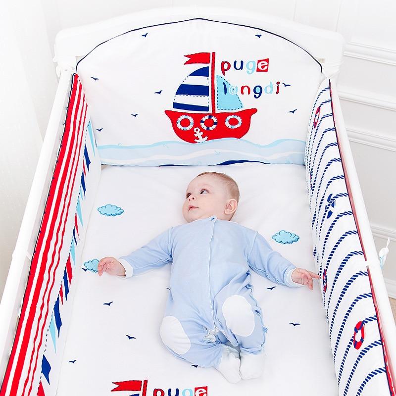 5 Pcs Cotton Baby Bedding Set Cartoon Crib Bed Bumper For Newborn Kawaii Animal Bed Sheet