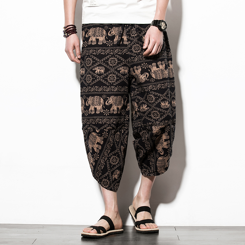 2018 Summer New Fashion Style Men's Beach Cropped Trousers Loose Large Size Floral Thin Harem Pants Cotton Linen M-5XL