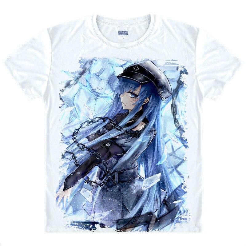 Убийца Акаме футболка esdeath рубашка Человек рубашки с коротким рукавом аниме принтеров Рубашка Молодежи Футболки для женщин показать коспле...