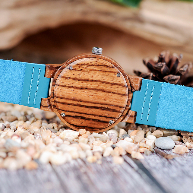 Couple Watch BOBO BIRD Zebra Wooden Genuine Leather Strap Quartz Watches Simple Blue Dial With Environmental Gift Box 1
