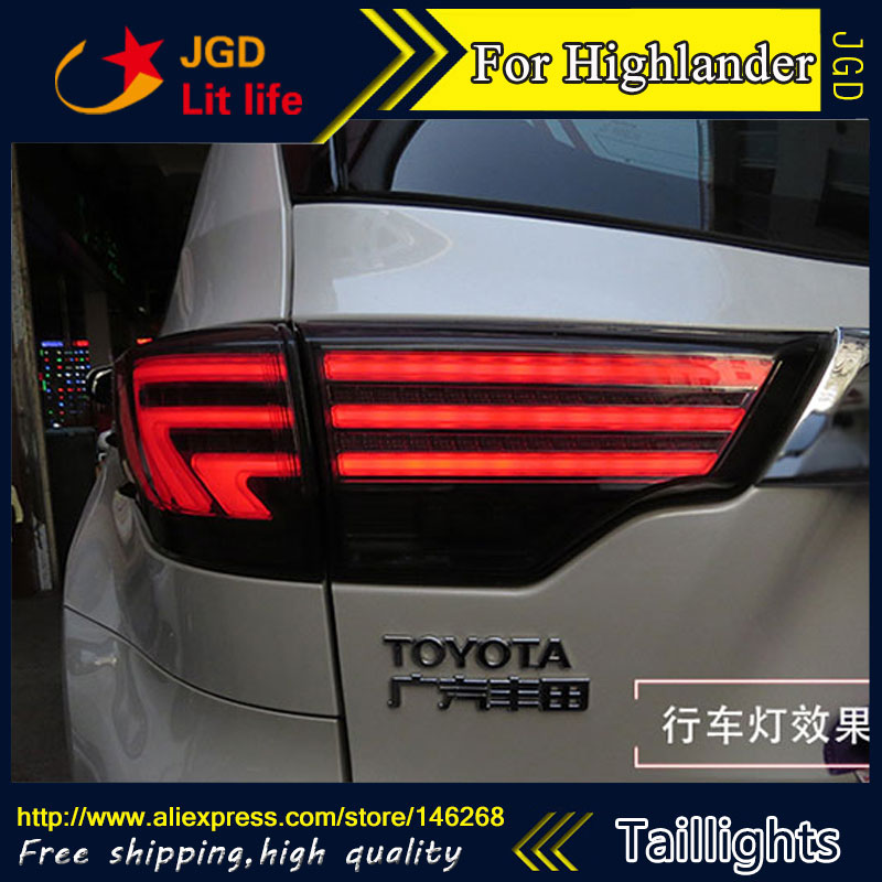 Car Styling tail lights for Toyota Highlander 2015 LED Tail Lamp rear trunk lamp cover drl+signal+brake+reverse for vw volkswagen polo mk5 6r hatchback 2010 2015 car rear lights covers led drl turn signals brake reverse tail decoration