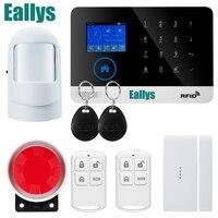 Painel de toque de TFT LCD Disply WI-FI RFID GSM Alarme De Segurança Casa sistema de apoio EN RU ES PL DE Comutável APP Controle Remoto