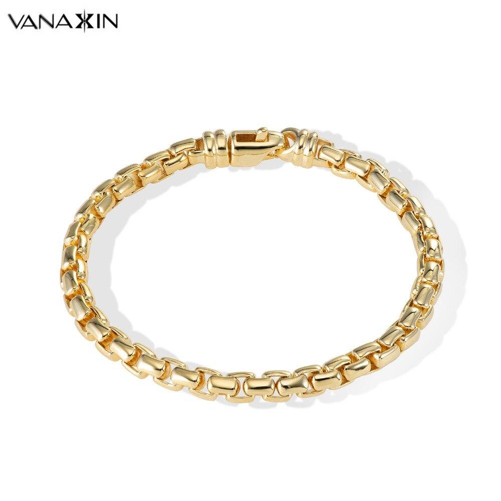 VANAXIN 925 Sterling Silver Bracelets Bangles For Men Classic Box Bracelet Gold Color High Quality Silver