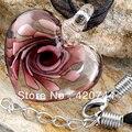 6 Unids/lote Corazón Lampwork Murano Glass Bead Pendant Necklace 28mm CHIC