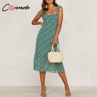 Conmot 2019 Винтаж Спагетти ремень Зеленый цветочный принт миди платье для женщин летние повседневное без рукавов праздничное Vestidos