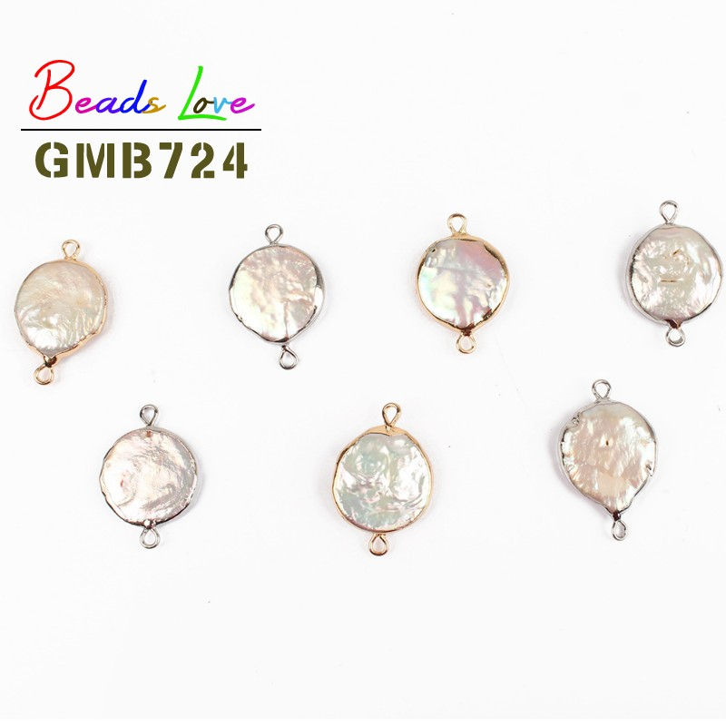 16mm Oblate Gold Silver Rim Freshwater Pearl Beads for Jewelry Making Natural Charms Pendant Diy Necklace Bracelet Jewellery jewelry making