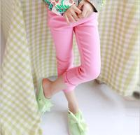 2016 más nuevo de primavera y otoño Niñas color caramelo lápiz Pantalones niños color sólido larga básica Pantalones ropa niños algodón Pantalones