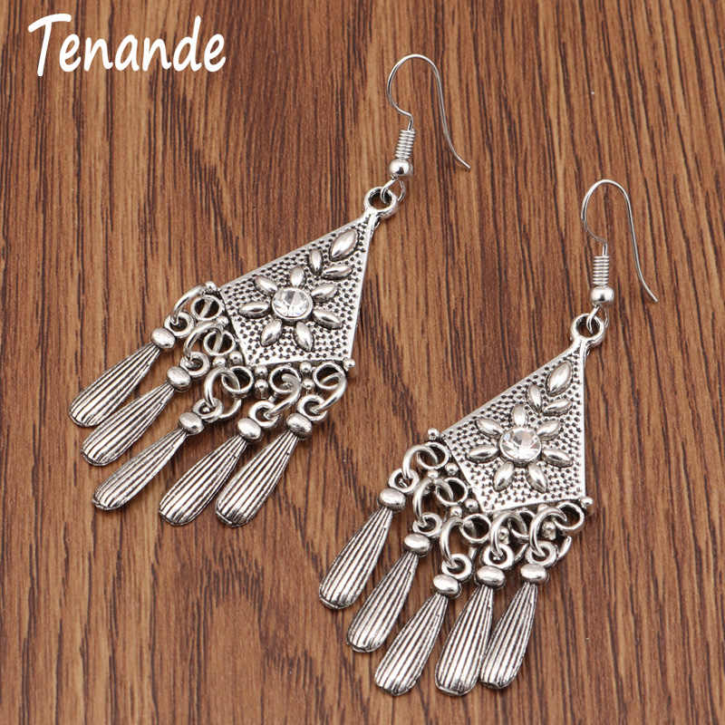 Tenande Vintage Boho Long Statement Carved Flowers Geometric Patterns Crystal Triangle Water Droplets Dangle Earrings for Women