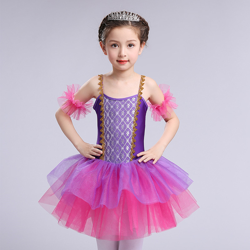 2017 New Professional  Swan Lake Ballet Tutu Show Costume Girls Children Ballerina One-piece Breathable Ballet Dancewear Dress