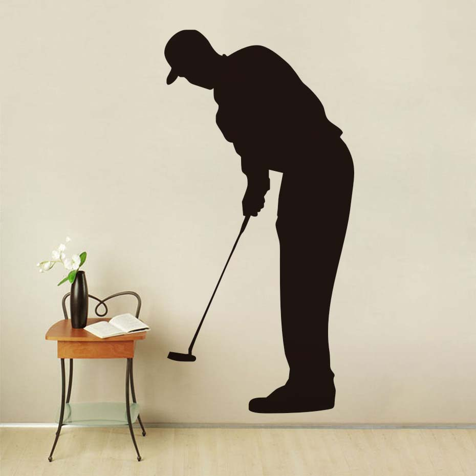 4511882bfb Hot Sale Living Room Sport Silhouette Wall Mural Home Decor Golf Forward  Putter Wall Sticker For Living Room Bedroom Accessorie