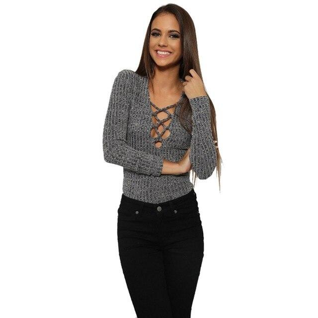 e556e0447 Sexy Deep V Lace-up Ribbed Women Bodysuit Tshirt Long Sleeve Tops Deep V  cross straps long-sleeved Slim wool T-shirt Trendy16