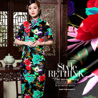2016 New Pure Chinese Wind Heavy Digital Printing Cloth Silk Cheongsam Fabric Silk Stretch Satin Flower Fullhouse