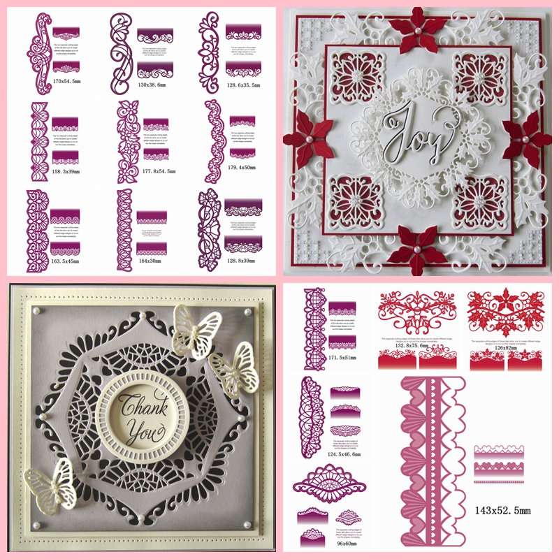 Mixed Lace Border DIY Metal Cutting Die Embossing Stencil Paper Card Album Making Scrapbooking Template Handmade Decoration in Cutting Dies from Home Garden