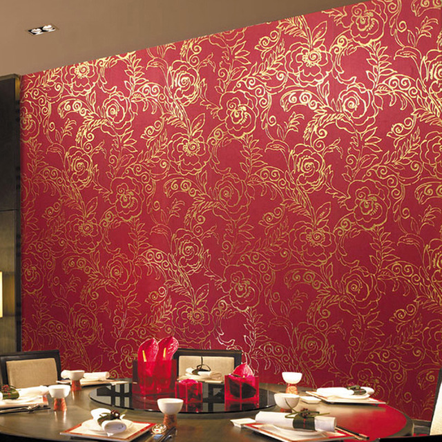 Gold Foil Wallpaper Red Peony Flower Glitter Waterproof Ktv Marriage Room Bedroom Wall Decoration Paper Roll