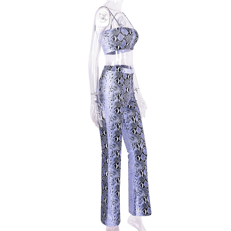 Purple Snake Skin Crop Top And Pants 2 Pieces Set 16