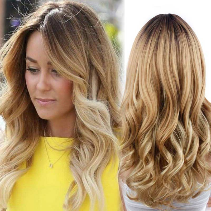 Ombre Blond Wig Long Curly Blonde Wigs of Natural Hair Cheap Synthetic for Women