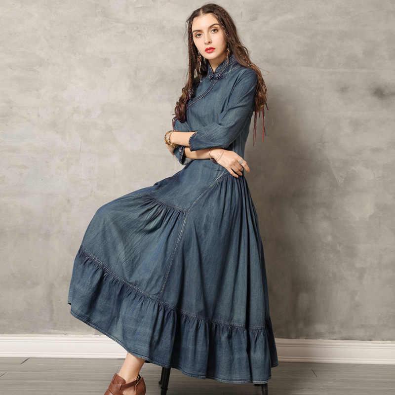 2019 קיץ נשים מוצק צבע טלאים בר שמלות חדש מקרית פשוט Loose מנדרינית צווארון גבוהה מותן ארוך ג 'ינס שמלות
