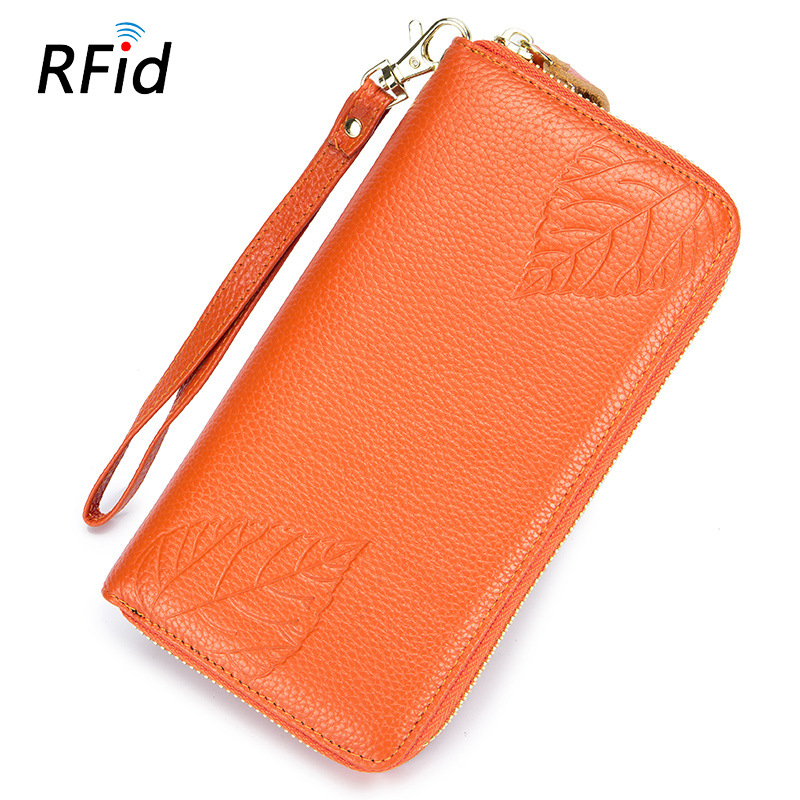 Women Clutch Wallets RFID Lady Genuine Leather Long Purses Large Capacity Zipper Cowhide Mobile Phone Bags Pouch