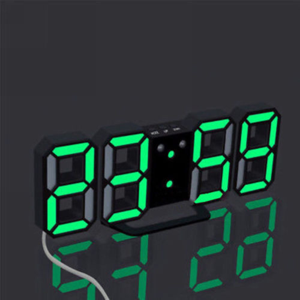 Modern Wall Clock Digital LED USB Table Desk Night Alarm clock 24 or 12 Hour Display u71017