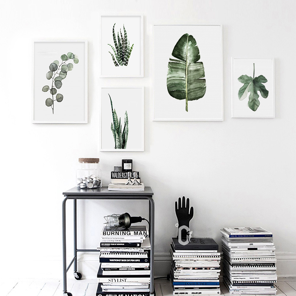 Watercolor plant leaves poster print wall art canvas for Decoration maison aliexpress
