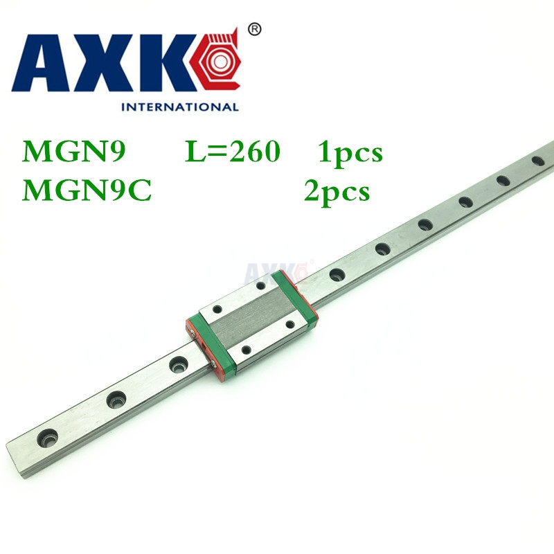 2018 New Axk Cnc Router Parts Linear Rail 1pc 9mm Width Linear Guide Rail 260mm Mgn9 + 2pc Mgn Mgn9c Blocks Carriage For Cnc 3d print parts cnc mgn7c mgn12c mgn15c mgn9c mini linear rail guide 1pc mgn linear rail guide 1pc mgn slider