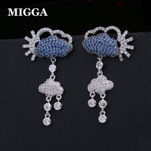 49c1af807 MIGGA New Blue Cloud Clear Rain Luxury Earrings for Ladies Women White Gold  Color Zirconia Stud Earrings