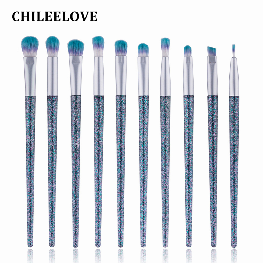 CHILEELOVE 10 Pcs Crystal Quicksand Eye Makeup Brushes Set Kit For Eye Shadow Eyebrow Liner Concealer With PVC Cosmetic Bag