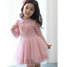 Lovely Girls Long Sleeve Dress Kids Wedding Party Princess Dresses For 2-6 Years