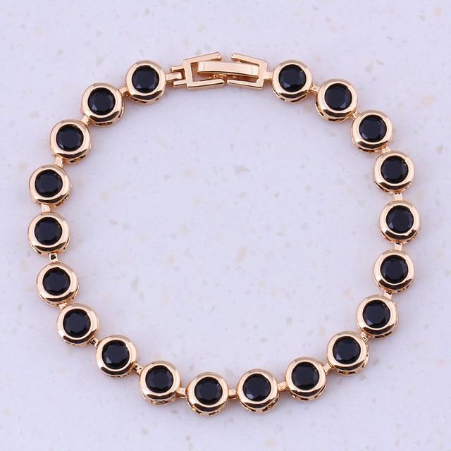 Glamorous Black Created Crystal Yellow Gold Color Trendy Charm Bracelets Women Wedding Fashion Jewelry Free Gift