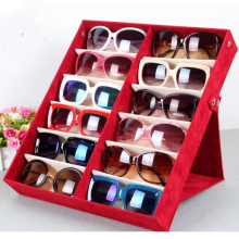 Качество очки ящик для хранения 12 сетка оленьей очки дисплей окно Солнцезащитных Очков Организатор Box Очки Использование Хранения 12 Отсек