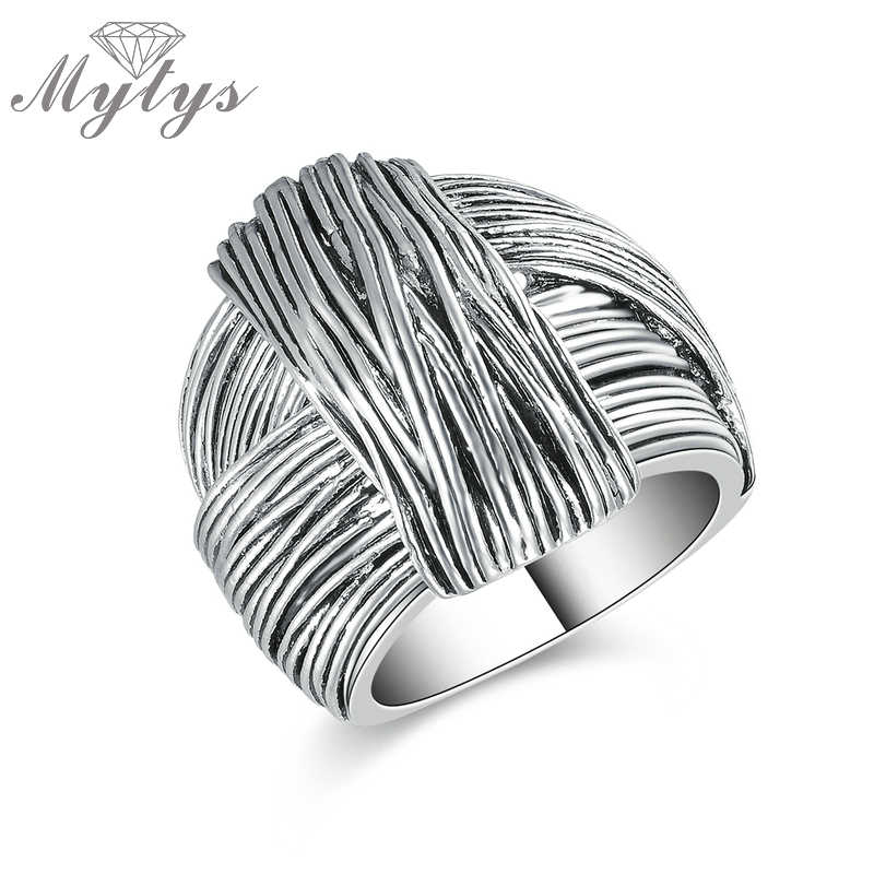 Mytys New Arrival Geometric Hand Made Design Retro Collection Women Antique Ring Fashion Jewelry White Gold Color R1213