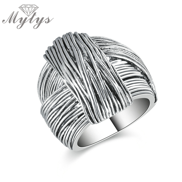 Mytys New Arrival Geometric Hand Made Design Retro Collection Women Antique Ring
