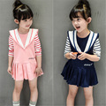 Girls Clothing Sets 2016 Autumn Preppy Style Wool Striped T-shirt + Vest Dress  2 Pcs Suits Girls T Shirt Children Clothing Set