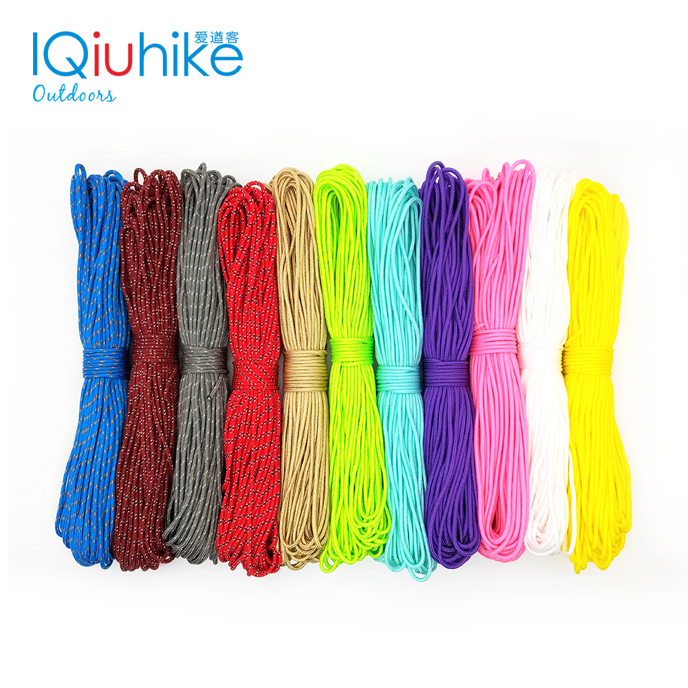 100FT 25FT 100 Colors Dia.2mm One Stand Cores Rope Paracord For Survival Parachute Cord Lanyard Tent Rope For Hiking Camping