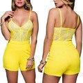 Amarillo de Encaje Elegante Slip Estilo Shorts playsuit Mono Del Mameluco Del Verano de Las Mujeres Sexy hombro Backless Patchwork Monos