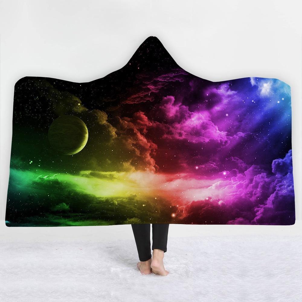 Cielo stellato Universo Stampato Della Boemia Con Cappuccio Coperta per Adulti Mandala Dreamcatcher Sherpa In Pile Donna Coperte e Plaid Coperta In Microfibra