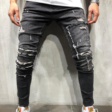 Mens Designer Brand Black Distressed Jeans Skinny Pencil Pants Ripped Destroyed Stretch Slim Fit Hop Hop Denim Trousers Cool Man fashion mens blue ripped patch jeans brand designer distressed denim joggers for man patchwork slim fit torn jean trousers lq080