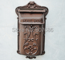 Small Wall Mounted Cast Iron Mailbox Metal Mail Box Wrought Iron Letter Post Box Rustic Postbox Home Gardon Decor Free Shipping