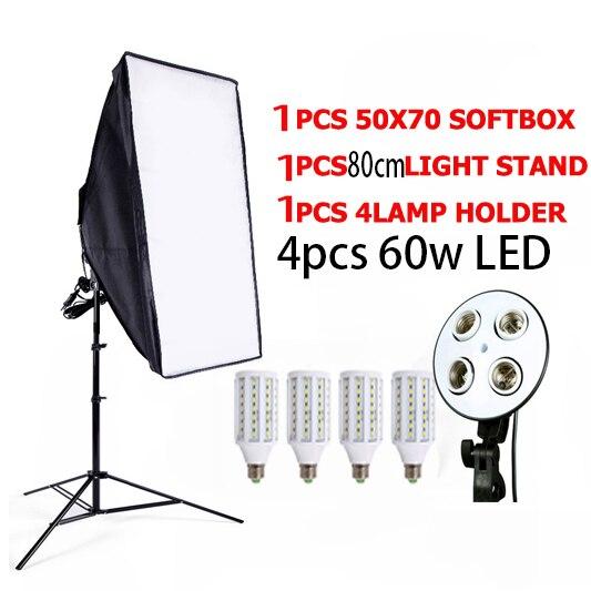 Photo Studio 4 LED 60w Camera & Photo Accessories Studio SoftBox Camera Photo 1 Light Stand 1 Softbox Photographic Lighting Kit