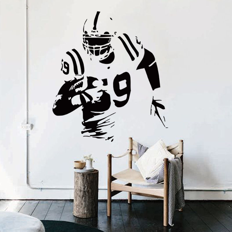 Art Fashion Design Name Quote Vinyl Rugby Player Cheap Wall Sticker  Removable Fashion USA Football Athlete Decals For Shop Club In Wall  Stickers From Home ...