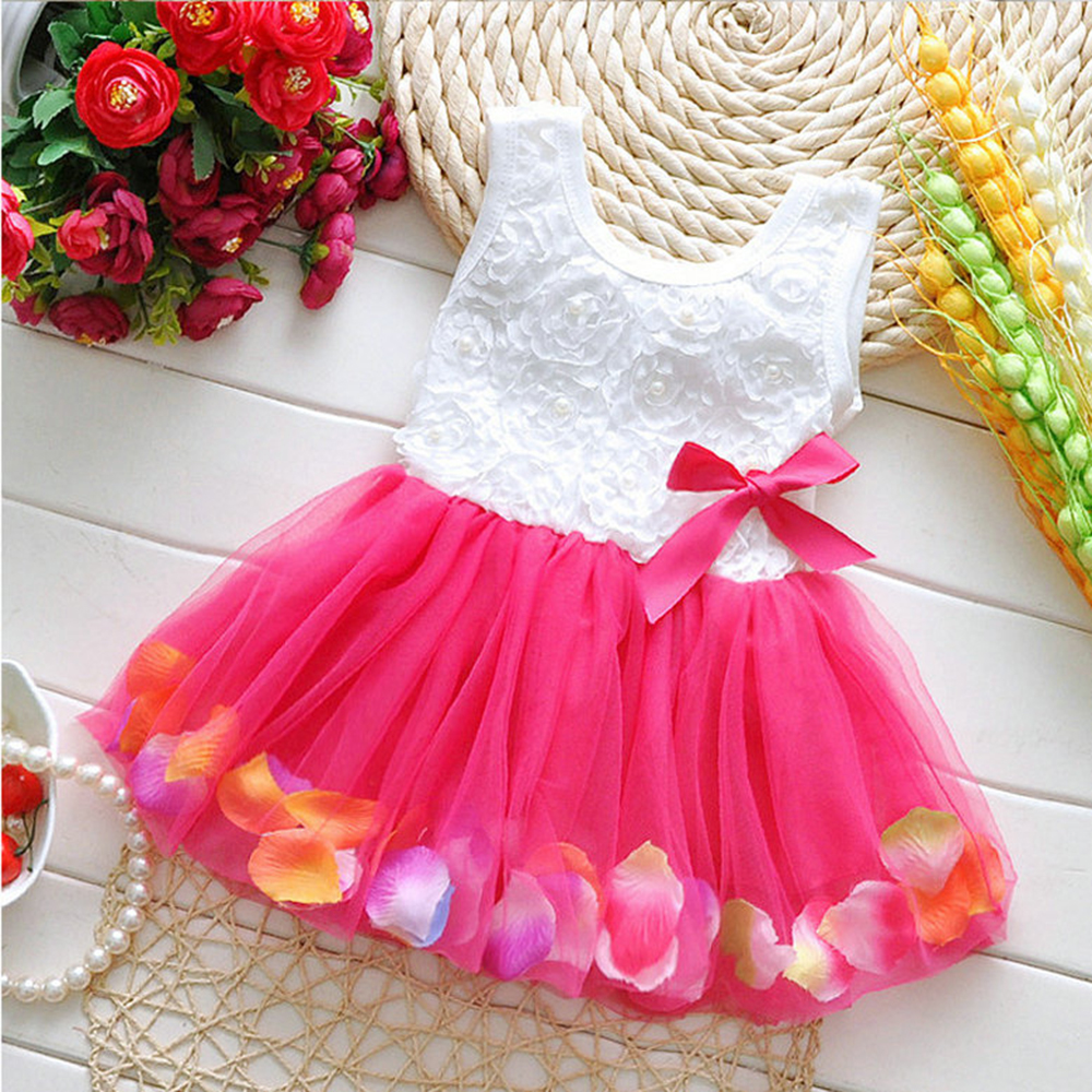 Baby&Kids Sleeveless Rose Petal Hem Princess Dress Baby Girl Dresses Kids Clothes Summer Dress Cute Clothes Princess TuTu Dress