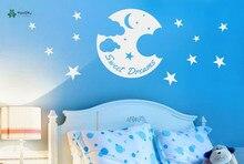 YOYOYU Vinyl Wall Decal Sweet Dreams Moon Stars And Clouds Night Baby Kids Room Art Decoration Stickers FD175