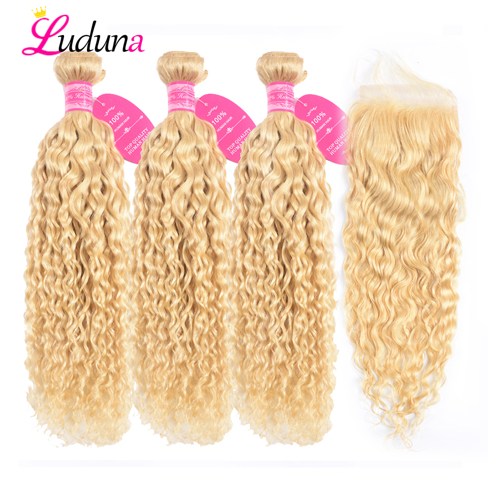 613 Blonde Bundles With Closure Brazilian Water Wave 3 Bundles With Closure Luduna Remy Human Hair
