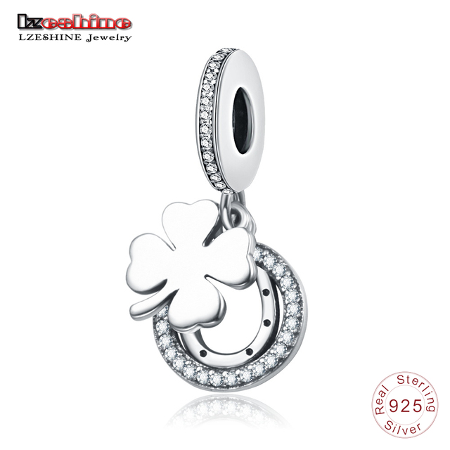 LZESHINE 100% 925 Sterling Silver Luck Clover Charms Bead fit Charms Bracelets Pendant Fine Jewelry For Women Christmas Gift 934