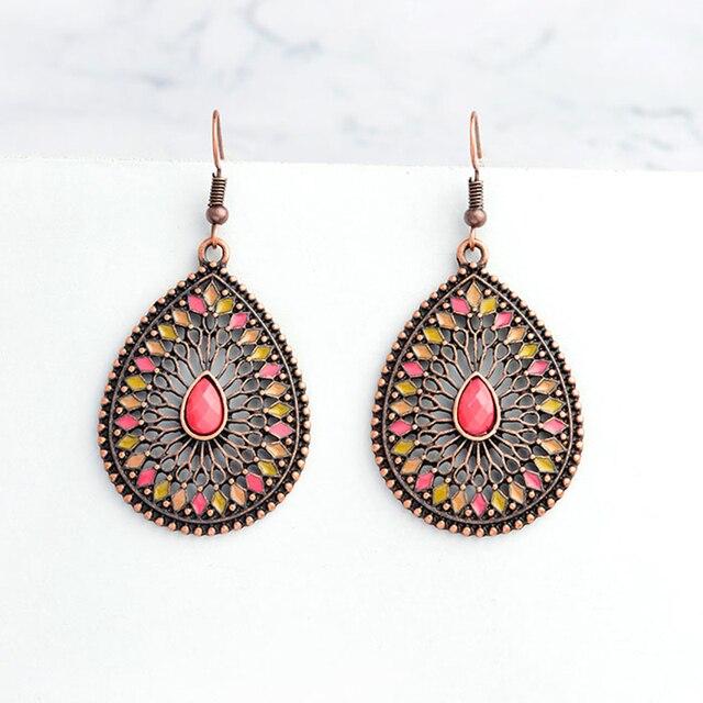 Miss Zoe Bohemian Hollow Red Beads Water Drop Dangle Earrings Danglers Charm Women