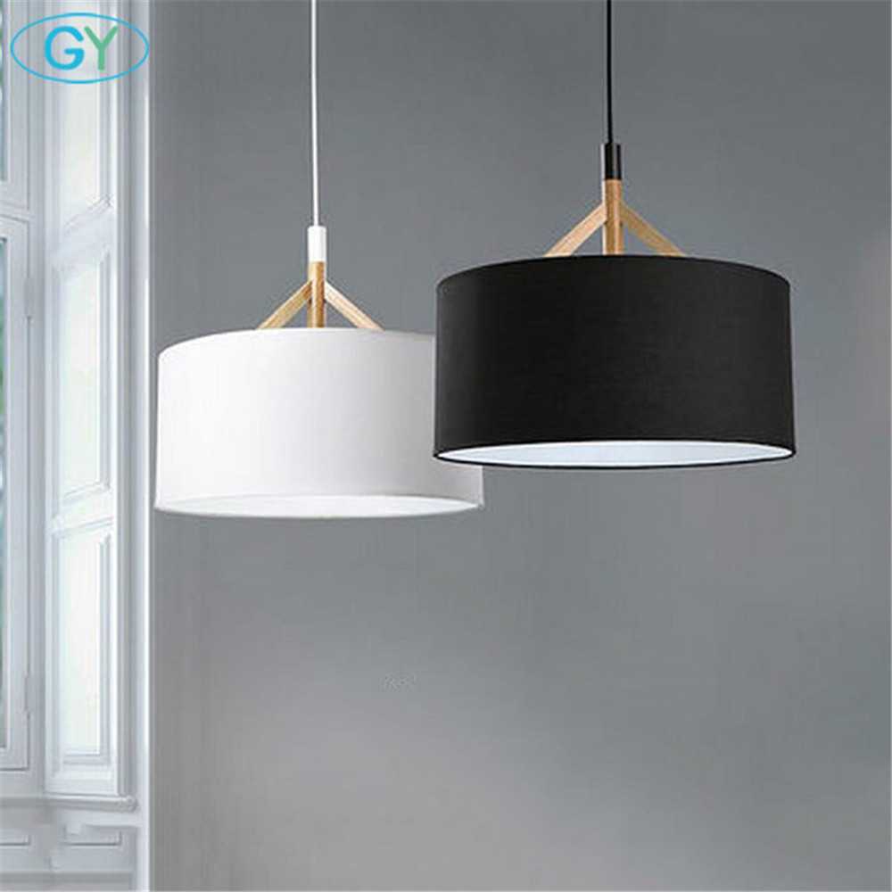 Modern D44cm Fabric Lampshade Pendant Lights Nordic Living Room Bedroom Ceiling Hanging Lamp