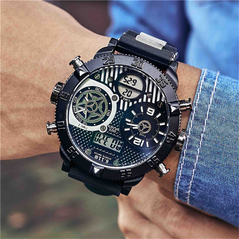 6.11 Big Dial Mens Watches Men Sports Watches Stainless Steel Quartz Waterproof Relogio Masculino Montre Homme mens stainless steel band watch with big round dial male analog quartz metal sports wristwatch relogio masculino montre homme