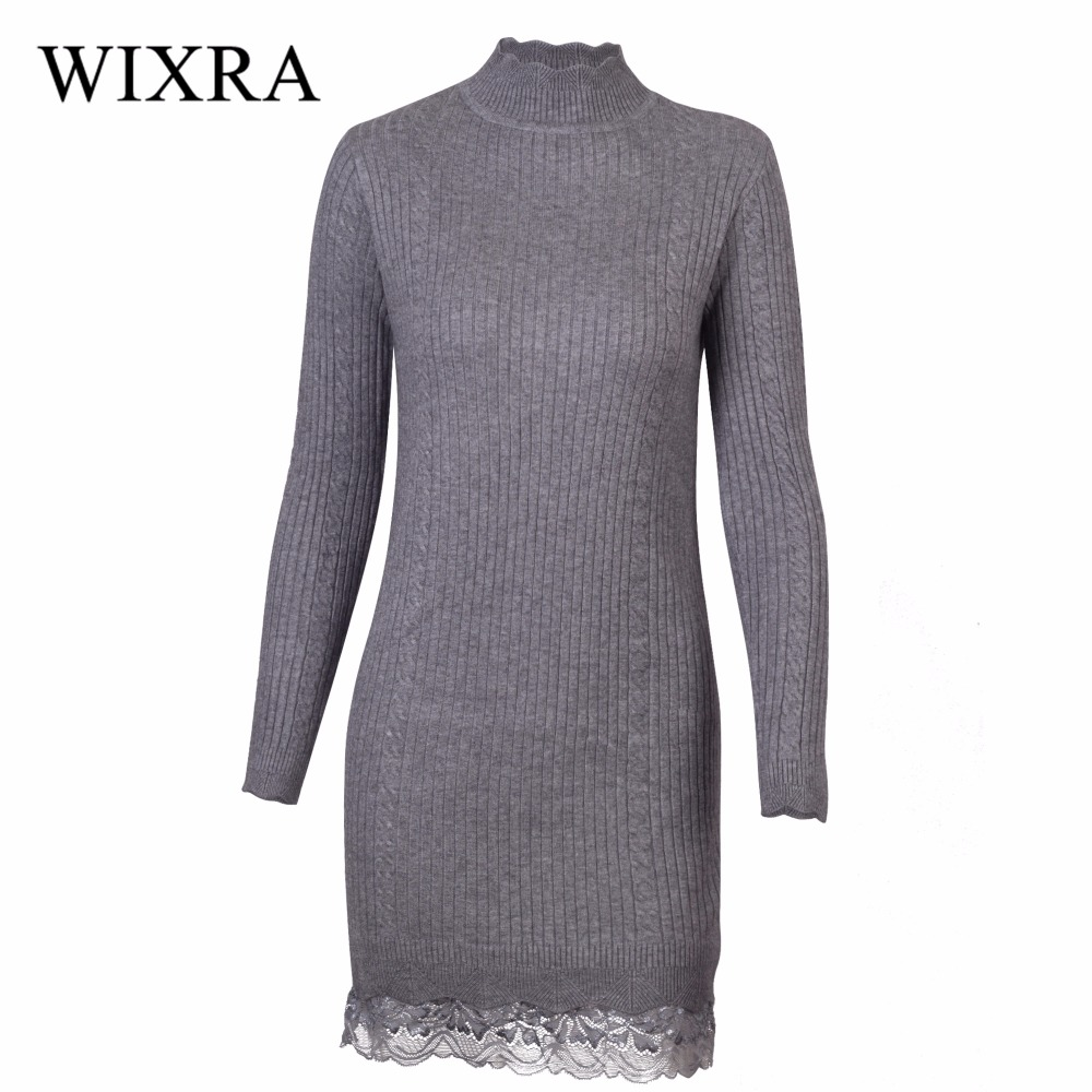 Wixra Warm and Charm Sweater Women Winter Pullover 2016 Lady Knitted Lace Patchwork Knitwear Brand Casual Jumper Women Sweaters